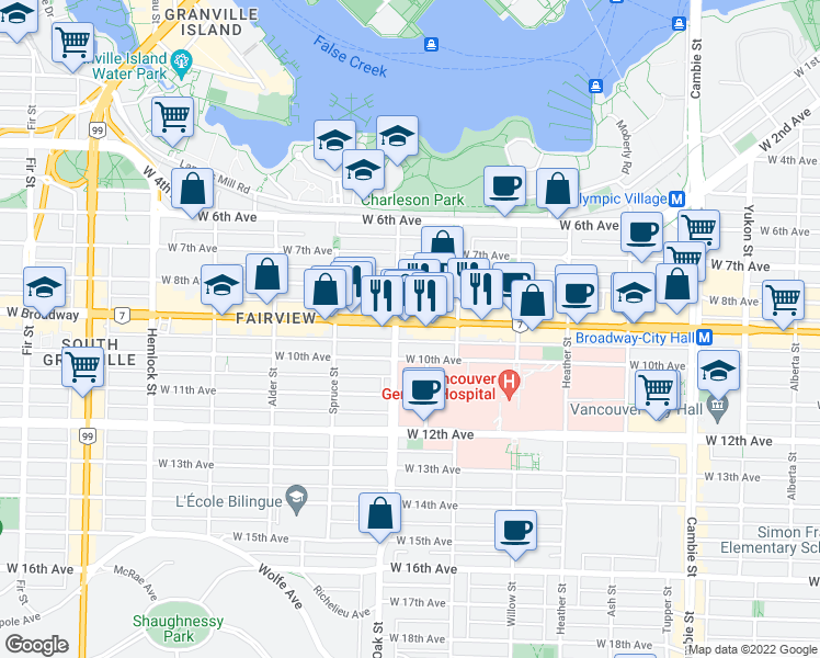 map of restaurants, bars, coffee shops, grocery stores, and more near 984 West Broadway in Vancouver