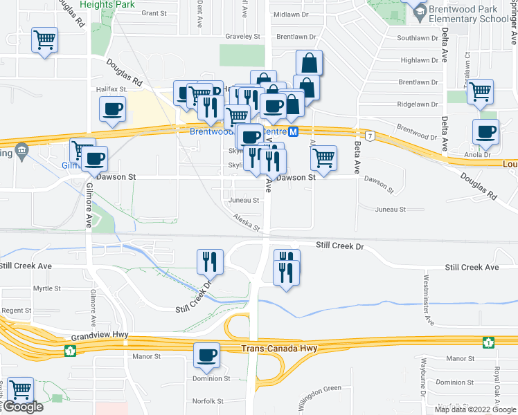 map of restaurants, bars, coffee shops, grocery stores, and more near 4478 Juneau Street in Burnaby