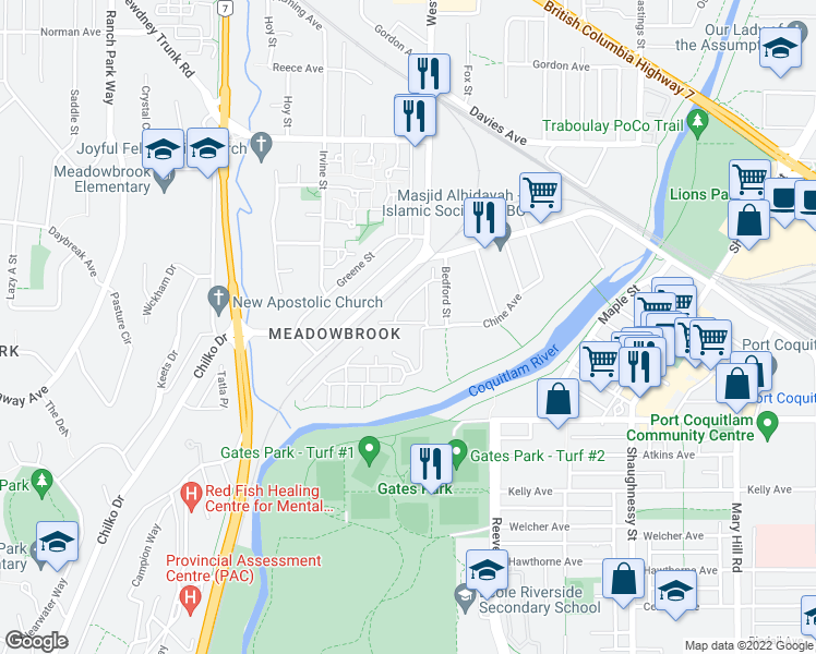 map of restaurants, bars, coffee shops, grocery stores, and more near 3010 Riverbend Drive in Port Coquitlam