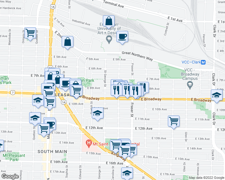 map of restaurants, bars, coffee shops, grocery stores, and more near 536 East 8th Avenue in Vancouver