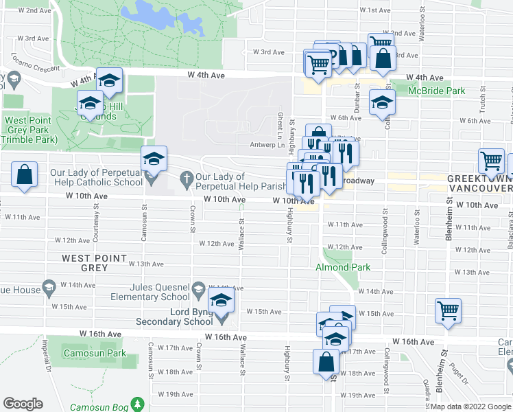 map of restaurants, bars, coffee shops, grocery stores, and more near 3872 West 10th Avenue in Vancouver