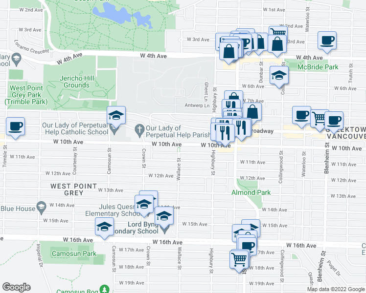 map of restaurants, bars, coffee shops, grocery stores, and more near 3894 West 10th Avenue in Vancouver