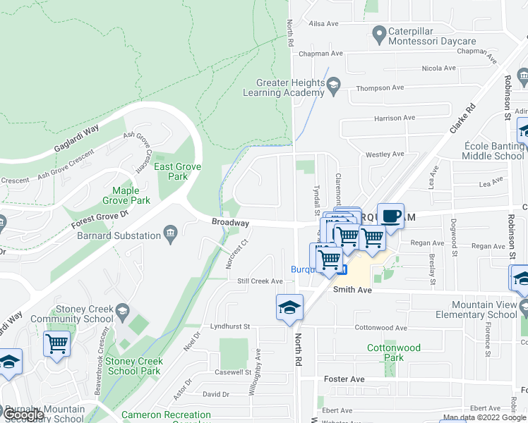 map of restaurants, bars, coffee shops, grocery stores, and more near 9889 Rathburn Drive in Burnaby