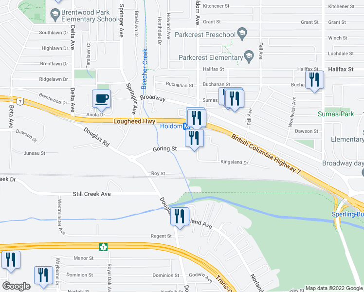 map of restaurants, bars, coffee shops, grocery stores, and more near 5611 Goring Street in Burnaby