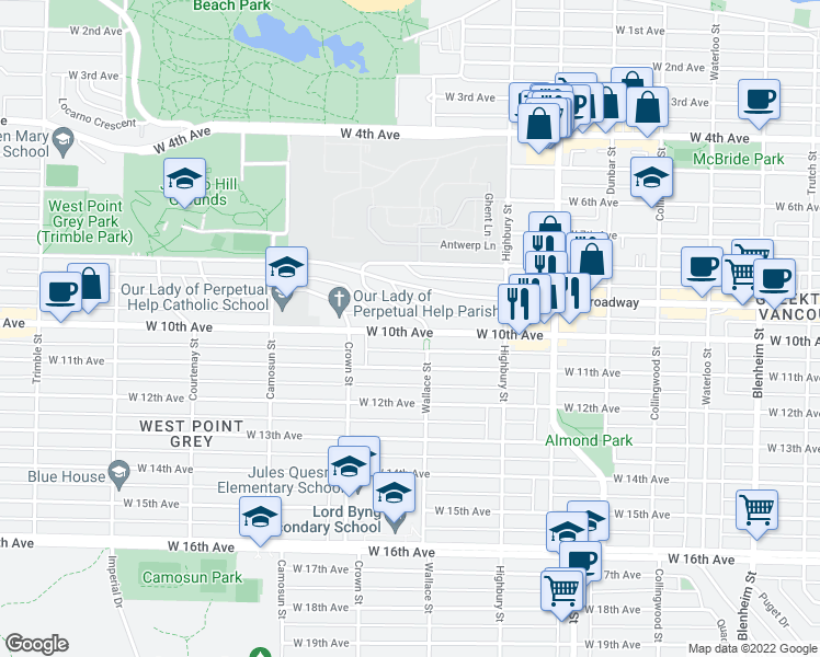 map of restaurants, bars, coffee shops, grocery stores, and more near 3919 West 10th Avenue in Vancouver