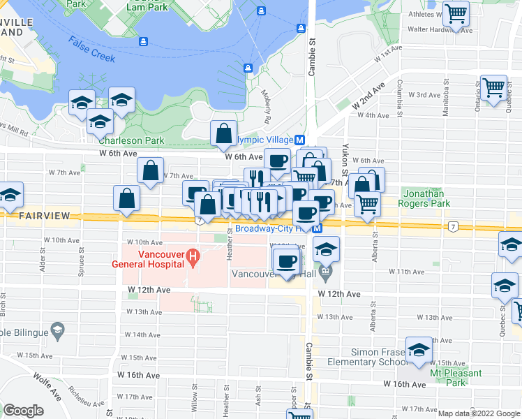 map of restaurants, bars, coffee shops, grocery stores, and more near 601 West Broadway in Vancouver