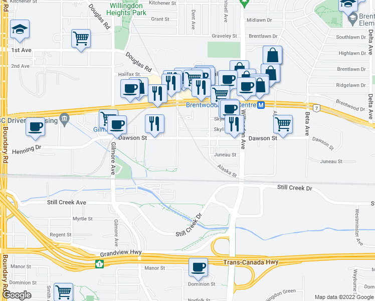 map of restaurants, bars, coffee shops, grocery stores, and more near 2308 Madison Avenue in Burnaby