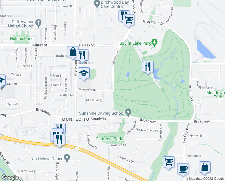 map of restaurants, bars, coffee shops, grocery stores, and more near 7371 Montecito Drive in Burnaby