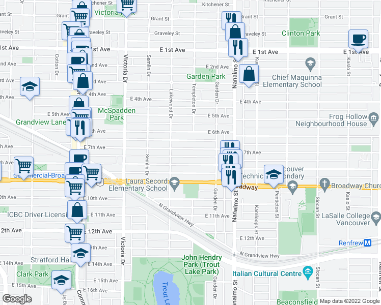 map of restaurants, bars, coffee shops, grocery stores, and more near 2180 East 7th Avenue in Vancouver