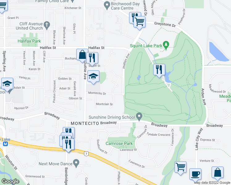 map of restaurants, bars, coffee shops, grocery stores, and more near 7363 Montecito Drive in Burnaby