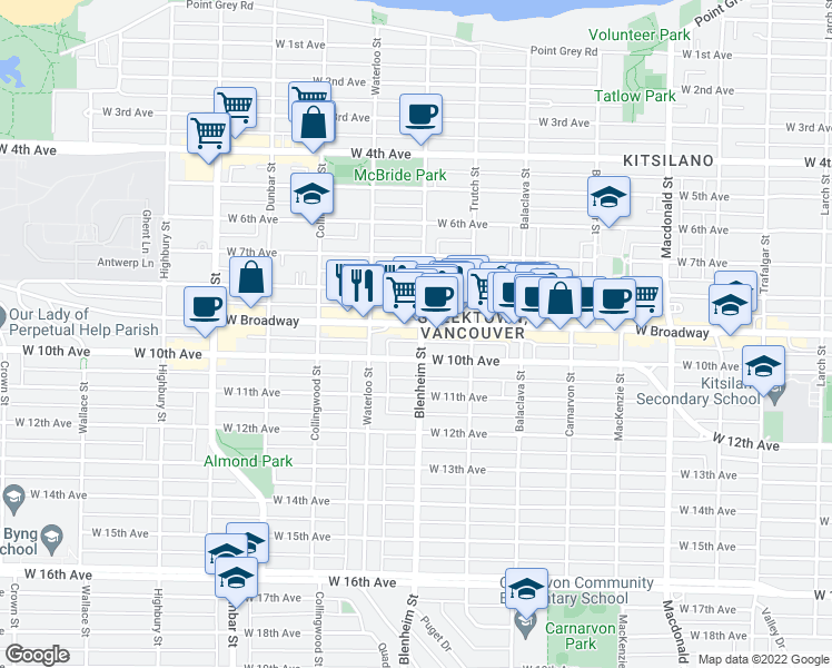 map of restaurants, bars, coffee shops, grocery stores, and more near 2525 Blenheim Street in Vancouver