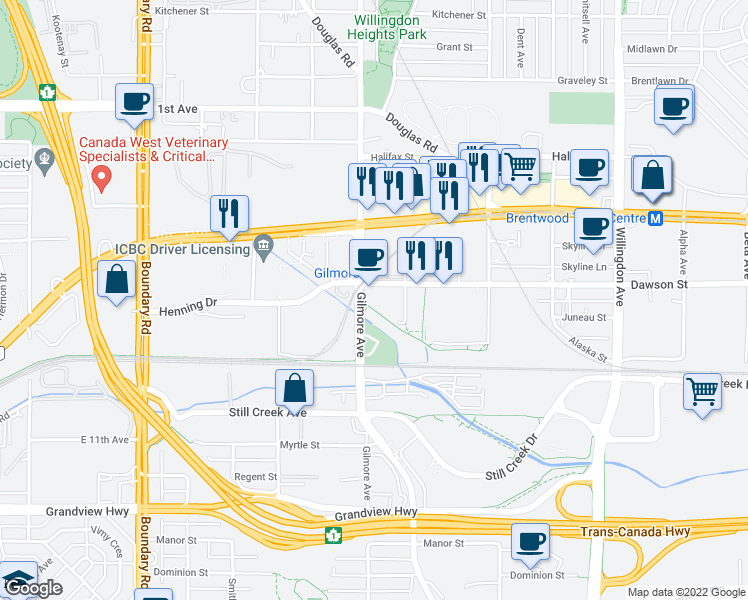 map of restaurants, bars, coffee shops, grocery stores, and more near 4118 Dawson Street in Burnaby