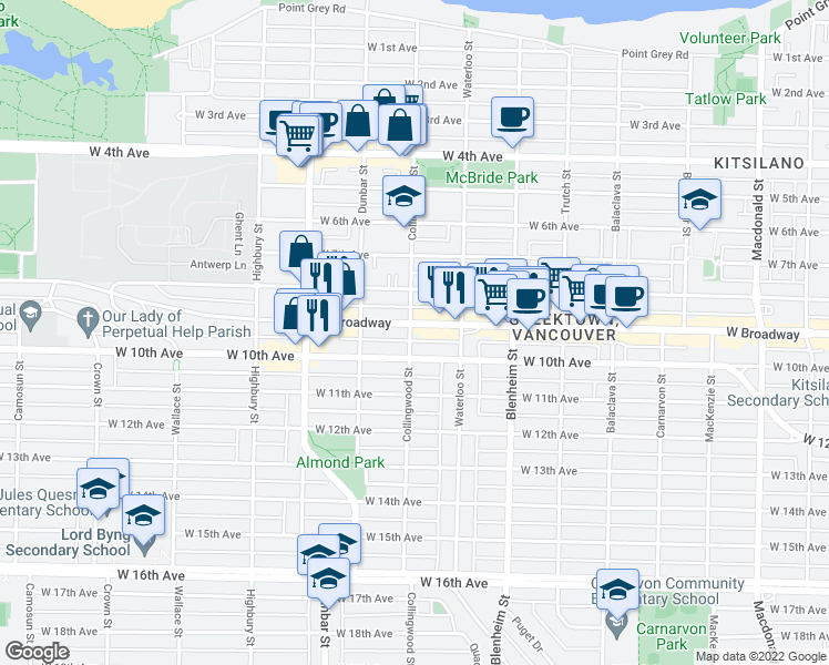 map of restaurants, bars, coffee shops, grocery stores, and more near 2528 Collingwood Street in Vancouver