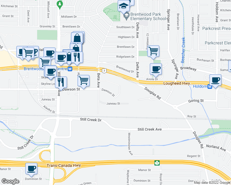 map of restaurants, bars, coffee shops, grocery stores, and more near 2289 Yukon Crescent in Burnaby