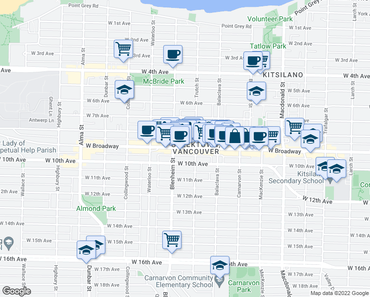map of restaurants, bars, coffee shops, grocery stores, and more near 3250 West Broadway in Vancouver