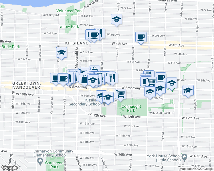 map of restaurants, bars, coffee shops, grocery stores, and more near 2565 West Broadway in Vancouver
