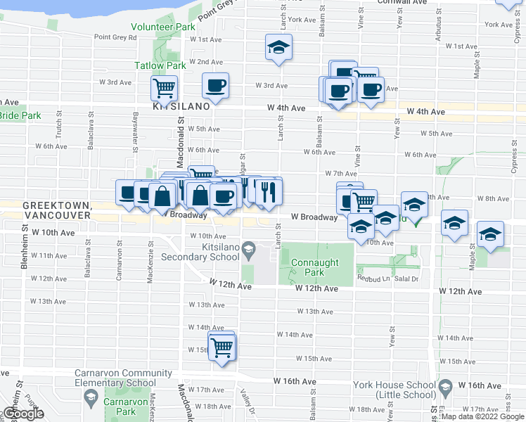 map of restaurants, bars, coffee shops, grocery stores, and more near 2545 West Broadway in Vancouver