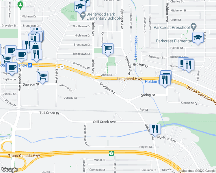 map of restaurants, bars, coffee shops, grocery stores, and more near 2200 Douglas Road in Burnaby