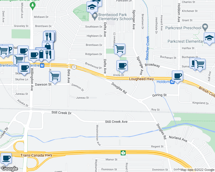 map of restaurants, bars, coffee shops, grocery stores, and more near 2133 Douglas Road in Burnaby