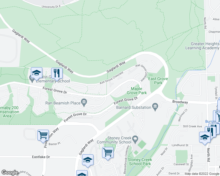 map of restaurants, bars, coffee shops, grocery stores, and more near 9000 Ash Grove Crescent in Burnaby