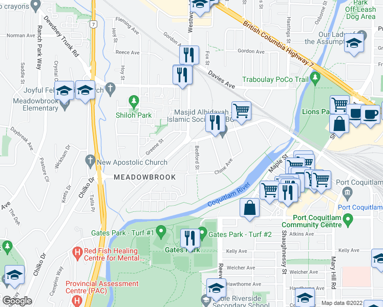 map of restaurants, bars, coffee shops, grocery stores, and more near 2655 Bedford Street in Port Coquitlam