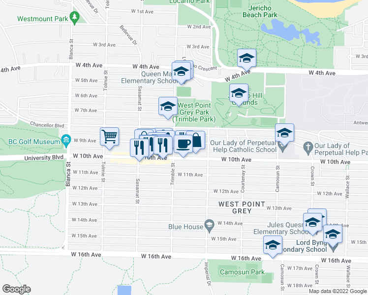 map of restaurants, bars, coffee shops, grocery stores, and more near 4370 West 9th Avenue in Vancouver