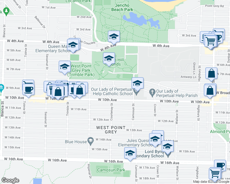 map of restaurants, bars, coffee shops, grocery stores, and more near 4176 Crown Crescent in Vancouver