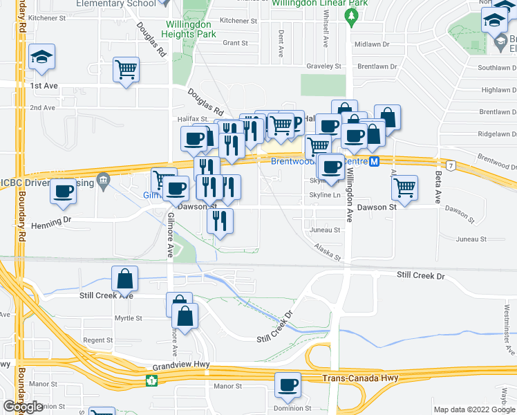 map of restaurants, bars, coffee shops, grocery stores, and more near 2355 Madison Avenue in Burnaby