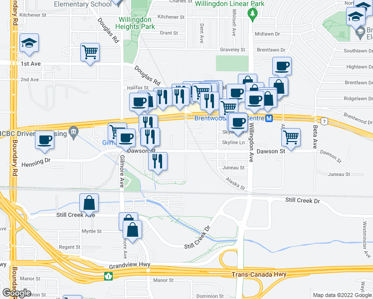 map of restaurants, bars, coffee shops, grocery stores, and more near 2188 Madison Avenue in Burnaby
