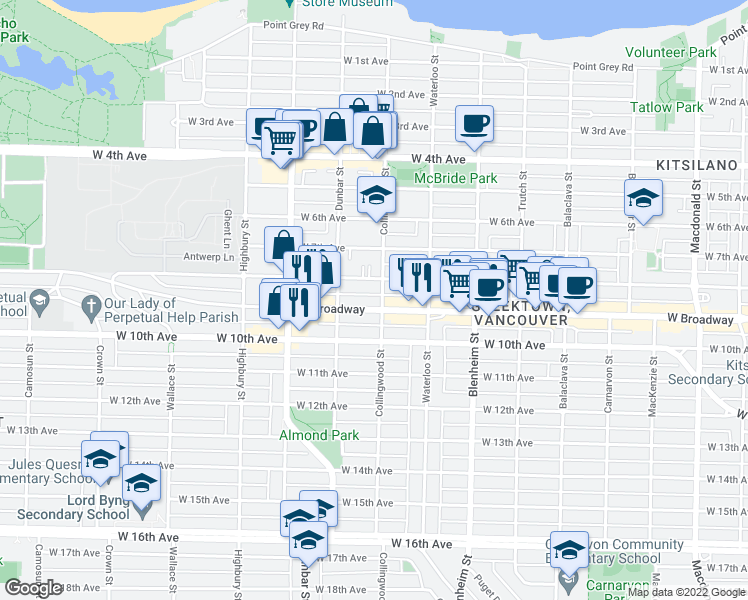 map of restaurants, bars, coffee shops, grocery stores, and more near 3505 West Broadway in Vancouver