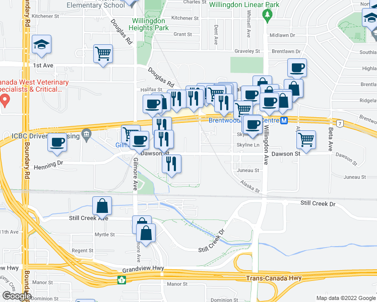 map of restaurants, bars, coffee shops, grocery stores, and more near 4285 Dawson Street in Burnaby