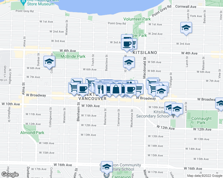 map of restaurants, bars, coffee shops, grocery stores, and more near 3050 West 8th Avenue in Vancouver