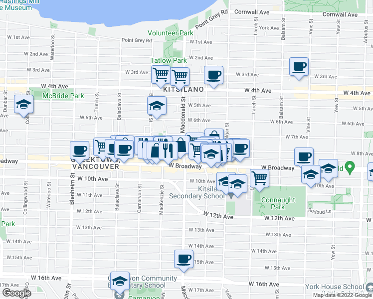 map of restaurants, bars, coffee shops, grocery stores, and more near 2783 West 8th Avenue in Vancouver