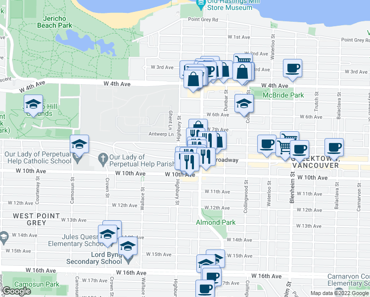 map of restaurants, bars, coffee shops, grocery stores, and more near 3788 West 8th Avenue in Vancouver