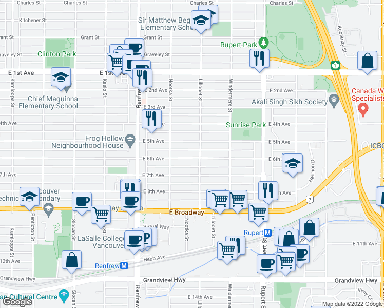 map of restaurants, bars, coffee shops, grocery stores, and more near 3081 East 6th Avenue in Vancouver
