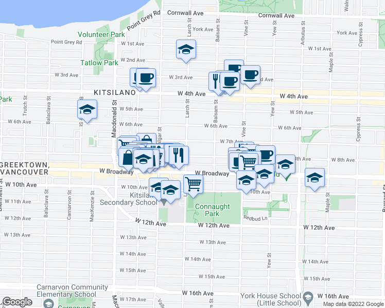 map of restaurants, bars, coffee shops, grocery stores, and more near 2487 West 8th Avenue in Vancouver