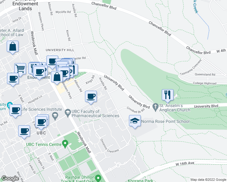 map of restaurants, bars, coffee shops, grocery stores, and more near Shortcut Road in University Endowment Lands