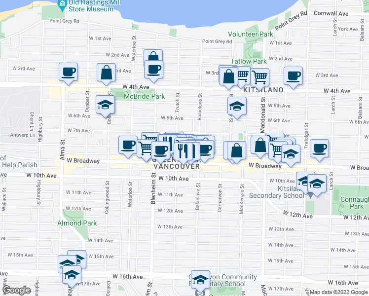 map of restaurants, bars, coffee shops, grocery stores, and more near 3166 West 8th Avenue in Vancouver