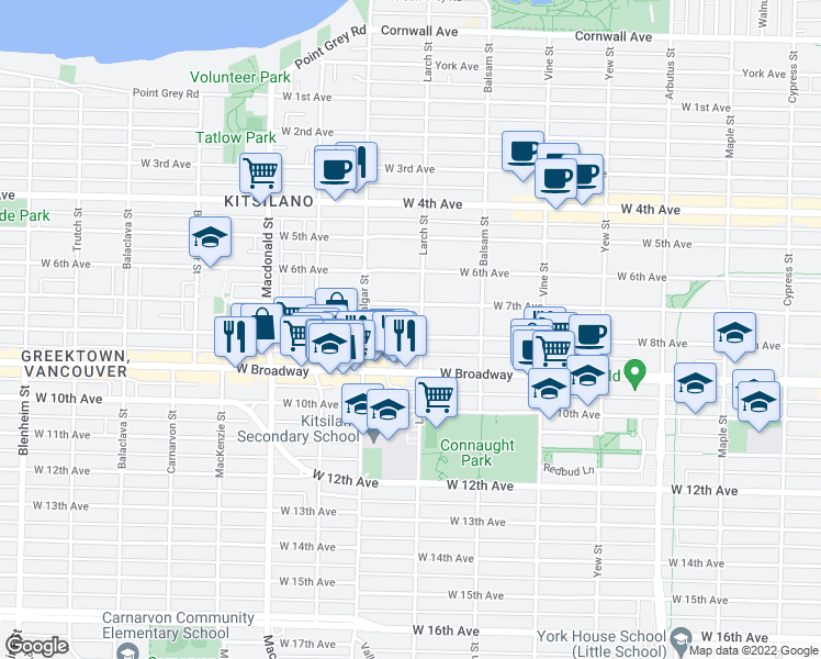 map of restaurants, bars, coffee shops, grocery stores, and more near 2513 West 8th Avenue in Vancouver