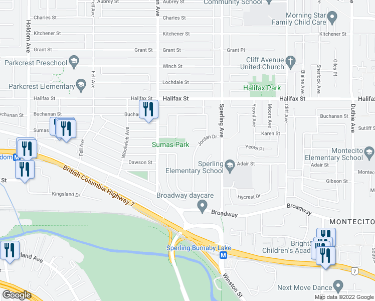 map of restaurants, bars, coffee shops, grocery stores, and more near 6602 Delwood Court in Burnaby