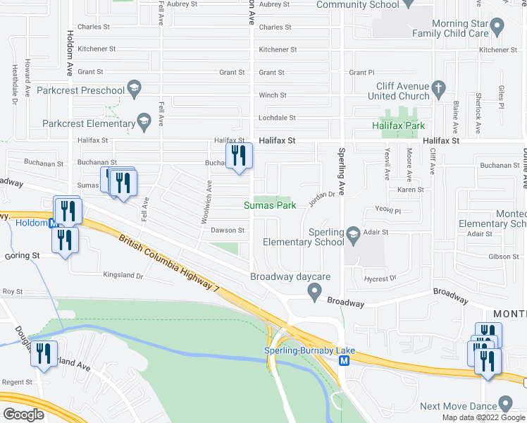 map of restaurants, bars, coffee shops, grocery stores, and more near 6511 Parkdale Drive in Burnaby