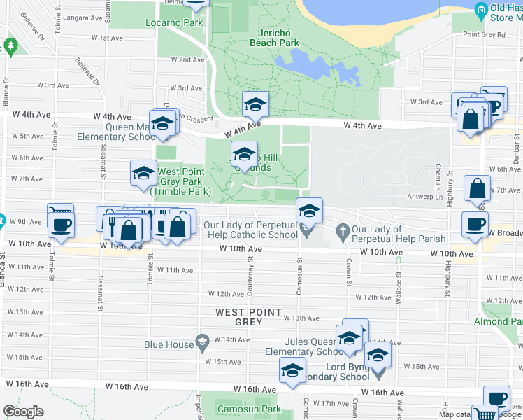 map of restaurants, bars, coffee shops, grocery stores, and more near 4182 West 8th Avenue in Vancouver