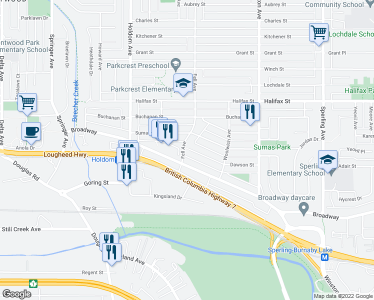 map of restaurants, bars, coffee shops, grocery stores, and more near 2152 Fell Avenue in Burnaby