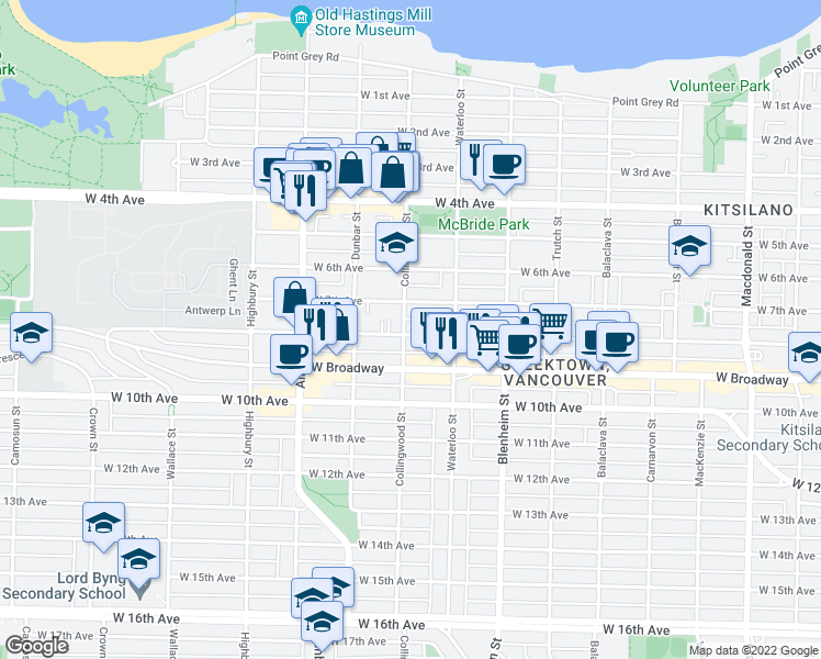 map of restaurants, bars, coffee shops, grocery stores, and more near 3483 West 8th Avenue in Vancouver