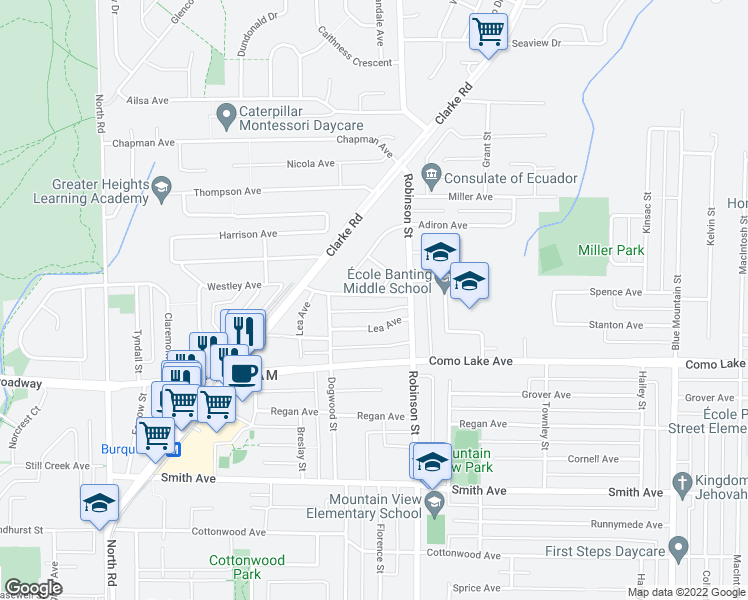 map of restaurants, bars, coffee shops, grocery stores, and more near 718 Morrison Avenue in Coquitlam