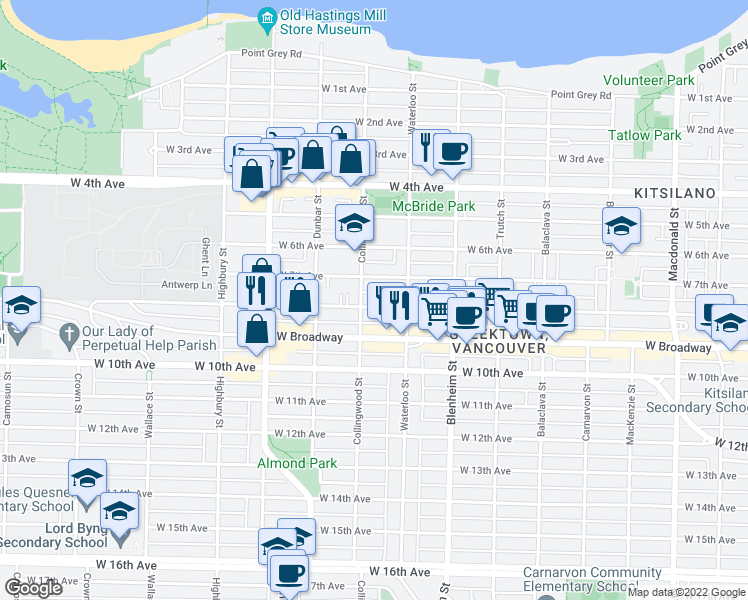 map of restaurants, bars, coffee shops, grocery stores, and more near 3469 West 8th Avenue in Vancouver