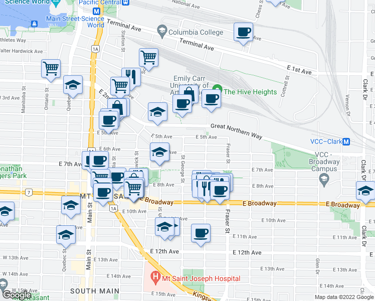 map of restaurants, bars, coffee shops, grocery stores, and more near 507 East 6th Avenue in Vancouver