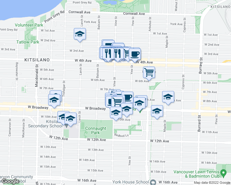 map of restaurants, bars, coffee shops, grocery stores, and more near 2302 Vine Street in Vancouver