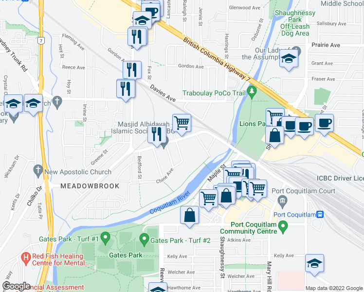 map of restaurants, bars, coffee shops, grocery stores, and more near 2678 Dixon Street in Port Coquitlam
