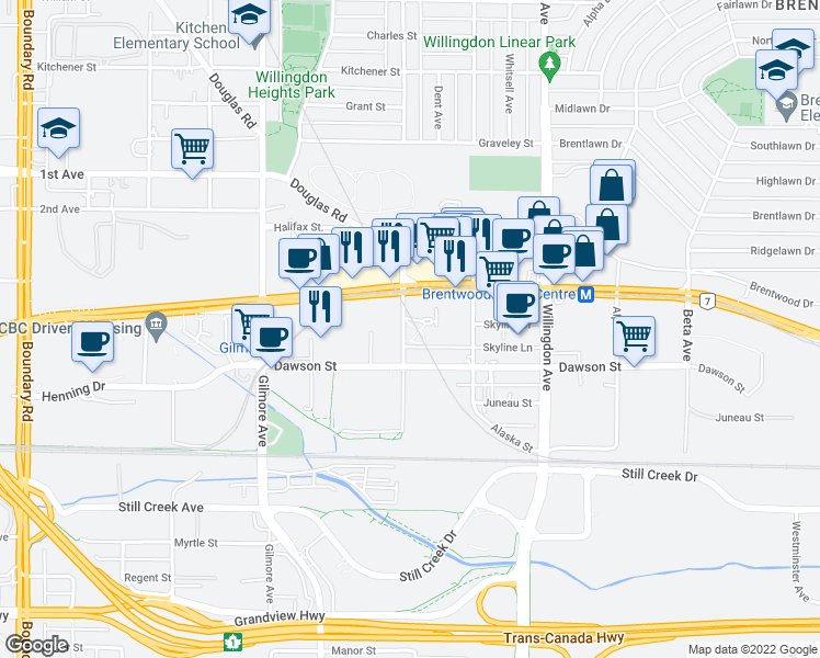 map of restaurants, bars, coffee shops, grocery stores, and more near 601 Madison Avenue in Burnaby